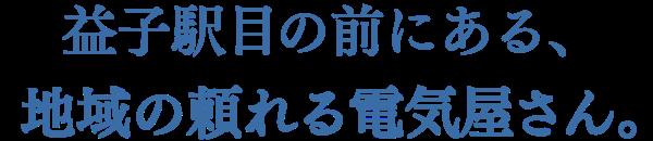益子駅目の前にある、地域の頼れる電気屋さん。